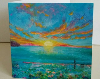 Greeting card Dawn Patrol from original painting by Bee Skelton for any occasion birthday gift anniversary thank you