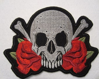 large Embroidered Skull and Roses Iron On Patch, Iron On Applique, Skull And Bones Patch, Iron On Patch
