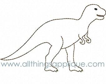 T-Rex BEAN Stitch Applique Design - 3 Sizes - INSTANT DOWNLOAD - All Things Applique