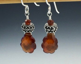 Unique Hand cut Hessonite garnet and sterling silver earrings