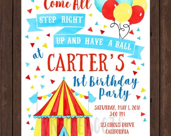 Watercolor Circus or Carnival Birthday Party Invite