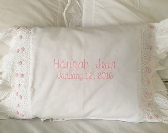 Girl's smocked monogrammed baby pillow
