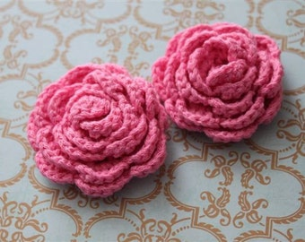 Lot of 2 Pink Crochet Flower Applique - 3D Ruffled Rose