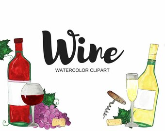 Wine Watercolor Clipart Clip Art Commercial Use Drawing Illustration Ink Print At Home