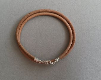 Double bracelet 925 sterling silver genuine leather