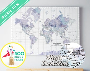 Custom world map push pin canvas watercolor terra vintage personalized world map push pin canvas watercolor marble countries world map with pins gift idea 240 pins gumiabroncs Images