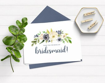 Thank You for Being My Bridesmaid Card, Bridesmaid Thank You Card, Instant Download Thank You Card, Wedding Card, Printable Bridesmaid Card