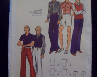"Men's Shirt, Vest, Pants and Shorts Vintage Butterick Pattern circa 1970s Chest 40"" Waist 34"""