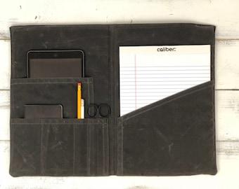 Personalized Portfolio, Portfolio, Notebook Cover, Travel journal, iPad Case, Legal Pad Portfolio, Waxed canvas, Tablet case, organizer