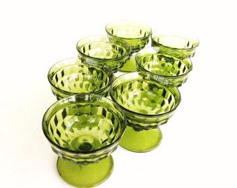Six Vintage Green Glass Cubist Pattern Vintage Sherbet Glass Indiana Glass Green Dessert glasses.