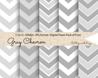Digital Paper Pack of 5--12x12 JPG Downloadable-Chevron Pattern Gray and White for Backgrounds, Web, Photo cards, invites, printables etc