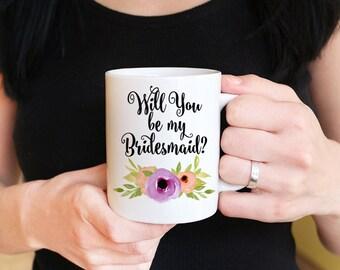 """Will You Be My Bridesmaid - Bridesmaid Proposal Watercolor Floral Mug - Custom Coffee Mug - Bridesmaid Mug """"Spring Blooms"""" Watercolor Mug"""