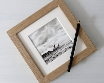 Saltwick Bay landscape drawing , seascape, charcoal drawing, pencil drawing, black and white, shipwreck picture, Yorkshire coast, UK
