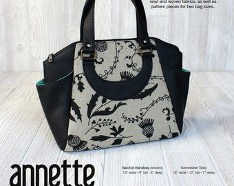 Swoon Paper Pattern: Annette Satchel Handbag - Crossbody Purse Tote Handbag Sewing Pattern