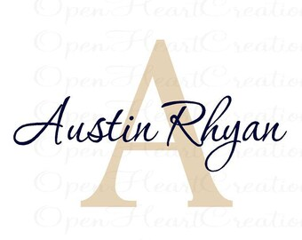 Small Initial and Name Vinyl Wall Decal - Baby Nursery Girl Boy Teen Wall Monogram Lettering IN0038