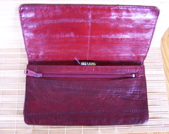 "Vintage 80's ""EELSKiN CHECKBOOK WALLET"" in Dark Burgundy / Double Holder"
