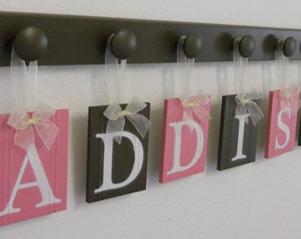 Custom Baby Name Wall Hanging Sign Set Includes Letters and Wooden Peg Pink and Chocolate Brown