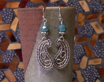 paisley earring, Czech glass earring, blue earring, blue and silver, dangle earring, boho earring, bold earring, handmade earring, earring