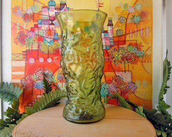 Vintage 1970s Green Glass Vase Textured Glass Flower Vase