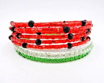Beaded wrap bracelet, memory wire bracelet, memory wire wrap bracelet, seed bead bracelet, watermelon bracelet, beaded bracelet