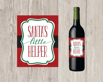 Santa's Little Helper Wine Bottle Label, Christmas Wine, Christmas Wine, Wine Label, Santa Wine, holiday gift | Printable