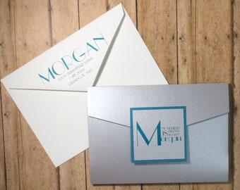 NEW - Silver Bat Mitzvah Pocketfold Invitation - Teal/Turquoise