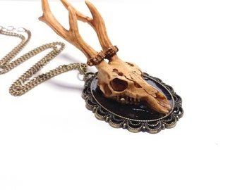 Deer skull cameo necklace, animal skull, deer antler jewelry, skull jewelry, faux taxidermy, taxidermy jewelry