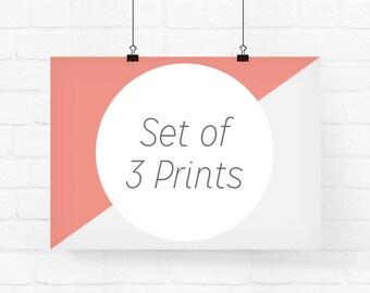 Your choice of 3 prints - Archival Fine Art Prints, Wall Art Set, Custom Print Set, Set of 3 Prints, Nursery Prints Set, Art Print Set