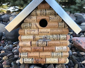 Outdoor Wine cork birdhouse with bottle opener perch and removable roof