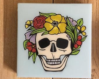 Flowered skull Day of the Dead Folk Art, Wall Canvas