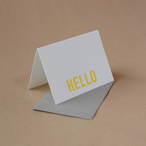 Letterpress Cards : Sunshine Yellow Modern Block Hello Notes - box of 5 small folded cards w envelope color choice