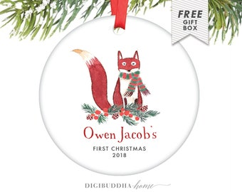 Unique Personalized Baby Boy Gifts, Fox Christmas Ornament Baby Boy Christmas Ornament Fox Woodland Christmas Decoration 1st Christmas Gift