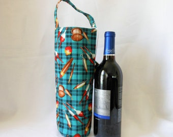 wine tote fishing gift bag, present for any one you likes to fish, birthday present for him and her, sports gifts, single bottle carrier