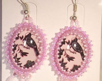 Earrings cabochon embroidered Bird on branch printed pink Swarovski Crystal