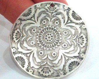 1 Pc (45 mm) Silver Plated  Medallion  Pendants G12632
