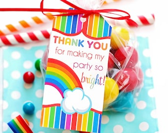 Rainbow Party Favor Tags, Rainbow Party Gift Tags, Rainbow Birthday Party, Rainbow Thank You Tags, Girls Rainbow Birthday, Printable Tags