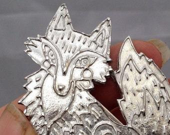 Pewter fox brooch