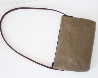 Sale waxed canvas shoulder bag with dark brown leather strap