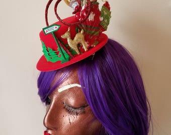 Reindeer Parking Mini Top Hat Fascinator