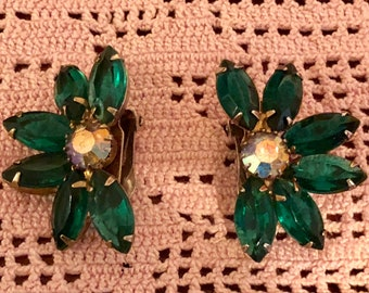 Vintage 1950's Green Marquise Stone Clip Earrings