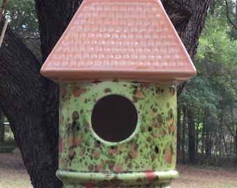 Birdhouse, ceramic, lime, orange, chocolate, garden decor, handmade in the USA