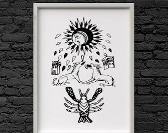 The moon tarot card minimal re drawn