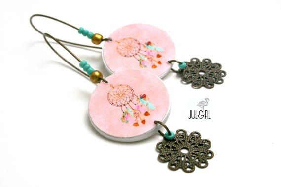 Boho dreamcatcher dream pink powder intense, print Brass filigree earrings, turquoise beads