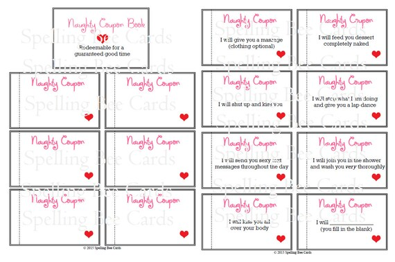 naughty coupon book, sexy coupons, last minute gift for boyfriend, husband,  wife, girlfriend