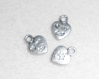 Silver (heart) My Cat Charms