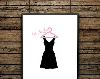 Poster illustration Little Black Dress - Painting Black and White - Scandinavian Style- Wall decoration - Fashion design Illustration