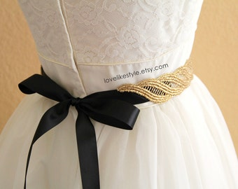 Gold  Metallic Lace with Champagne Satin Sash , Bridal Sash, Bridesmaid Sash ,GSH-31