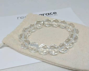 Chunky clear faceted glass stretch bracelet