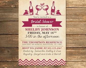 Merlot Bridal Shower Invitation, Wine Bridal Shower, Wedding Shower, Engagement Party, Vintage, Rustic, Merlot, Printable Invitation
