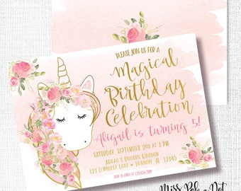 Unicorn pink and Gold Birthday Party Invitation, Printable, Magical Birthday Invite, Watercolor Florals, Blush, Gold, Flowers, Elegant